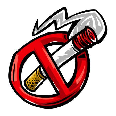 Cigarette smoking vector illustration Illusztráció