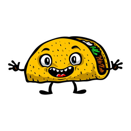 Cute Funny Cartoon Taco vector illustration Banco de Imagens - 61381138