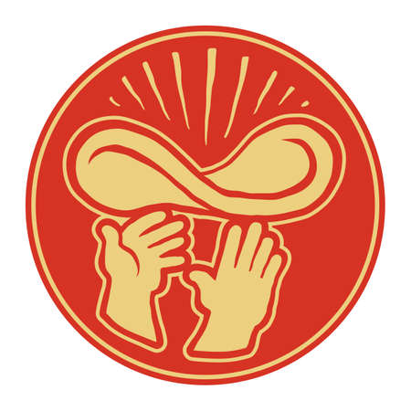 pizza dough: Hands throwing pizza dough in the air Illustration