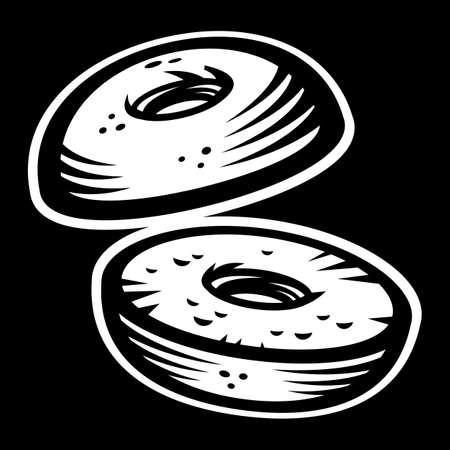 sesame seeds: Bagel vector icon
