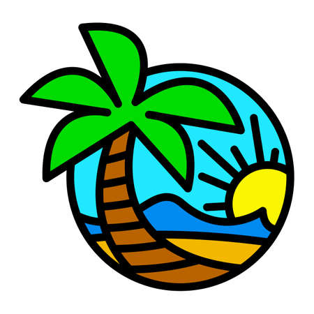 Summer Beach Waves Ocean Palm Tree Tropical Holiday Vacation vector icon