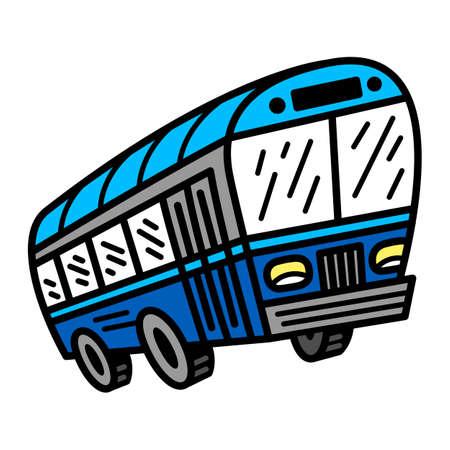 City Bus Transit Vehicle vector icon Illusztráció
