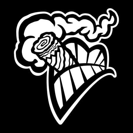 cigar: Cigar Smoking Mouth Teeth vector icon Illustration