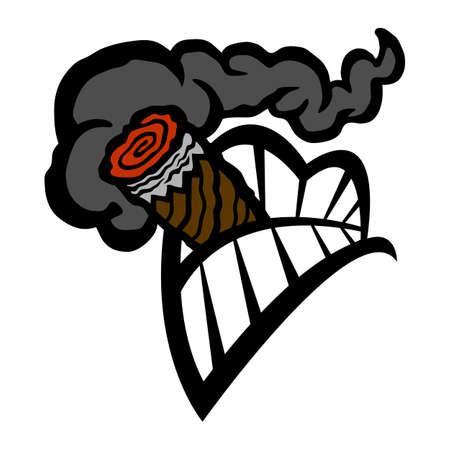 Cigar Smoking Mouth Teeth vector icon  イラスト・ベクター素材