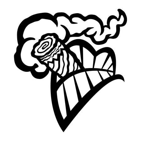 Cigar Smoking Mouth Teeth vector icon Illustration