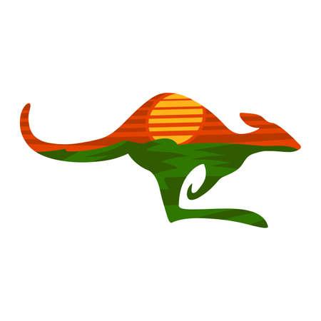 Kangaroo vector icon Illustration