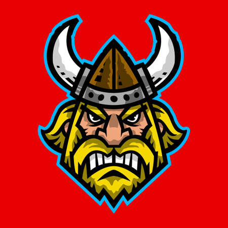 norseman: Vector illustration of a cartoon viking with a horned helmet and beard