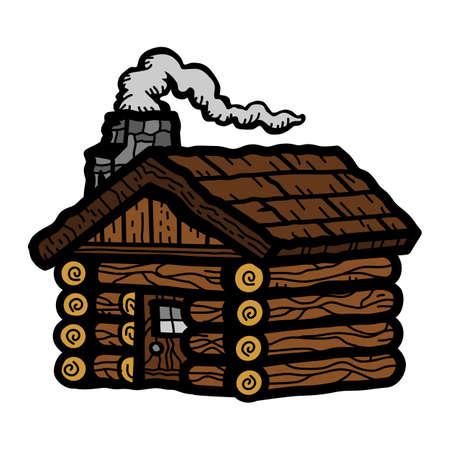 log on: Log Cabin Illustration