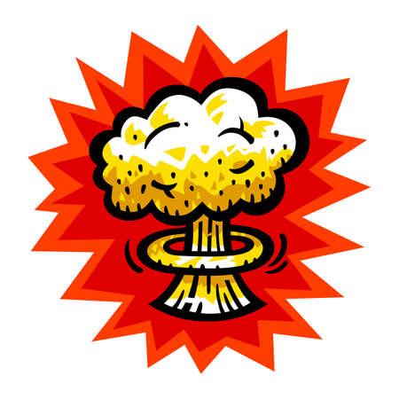 Champignon atomique nucléaire Bombe Explosion Fallout vector icon Vecteurs