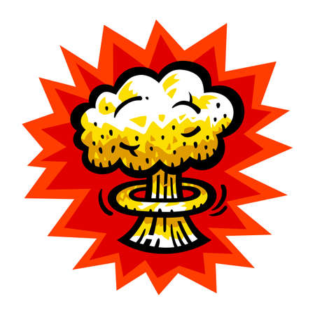 mushroom cloud: Mushroom Cloud Atomic Nuclear Bomb Explosion Fallout vector icon