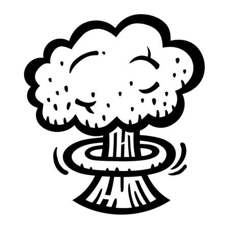 atomic bomb: Mushroom Cloud Atomic Nuclear Bomb Explosion Fallout vector icon