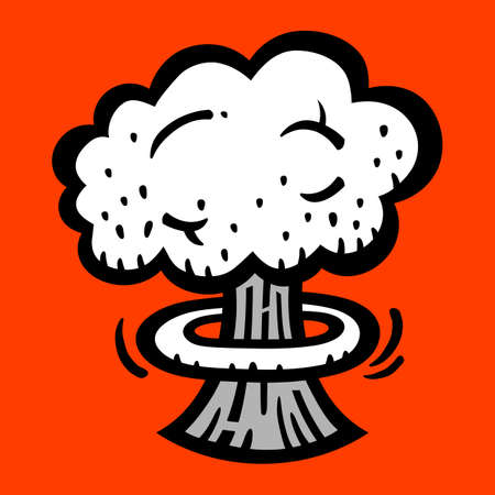 vector nuclear: Mushroom Cloud Atomic Nuclear Bomb Explosion Fallout vector icon