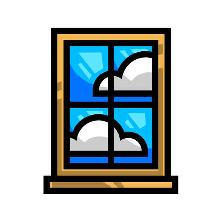 window view: Window Frame Glass Pane Illustration