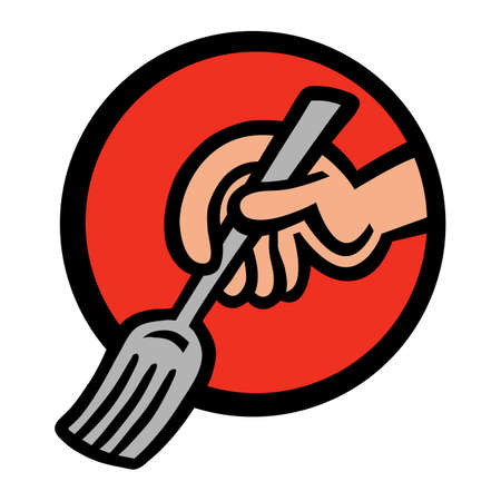 Cartoon Hand Holding Dining Fork At Meal