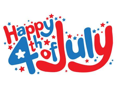 Gelukkig 4 juli tekst vector graphic fun