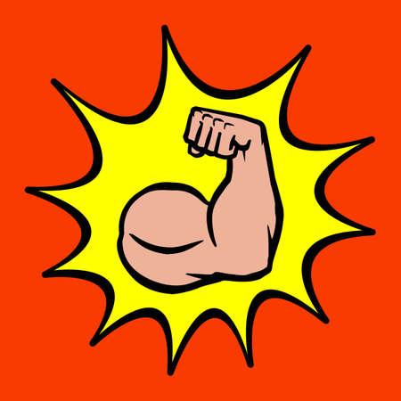 flexed: Strong Bodybuilder Biceps Flex Arm Vector Icon
