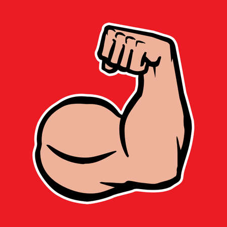 flex: Strong Bodybuilder Biceps Flex Arm Vector Icon