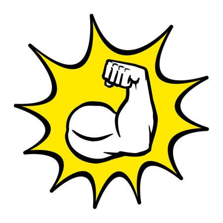 testosterone: Strong Bodybuilder Biceps Flex Arm Vector Icon