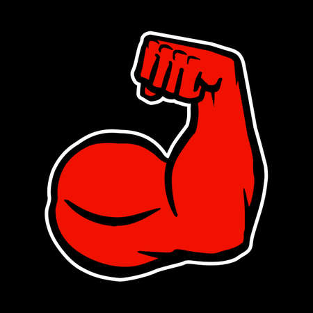 in flexed: Strong Bodybuilder Biceps Flex Arm Vector Icon