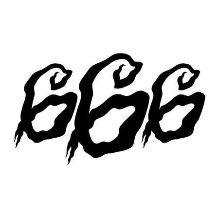 satan: 666 Grafik-Beschriftung Illustration