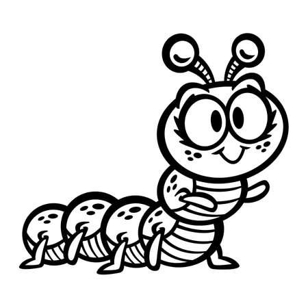 crawling creature: Cute Crawling Caterpillar Bug cartoon vector