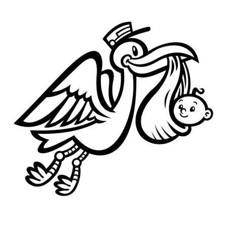 Cartoon Flying Stork Bird Delivering A Baby