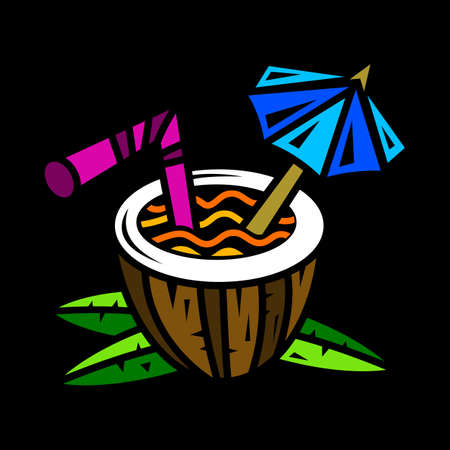 Tropical coconut drink vector 向量圖像