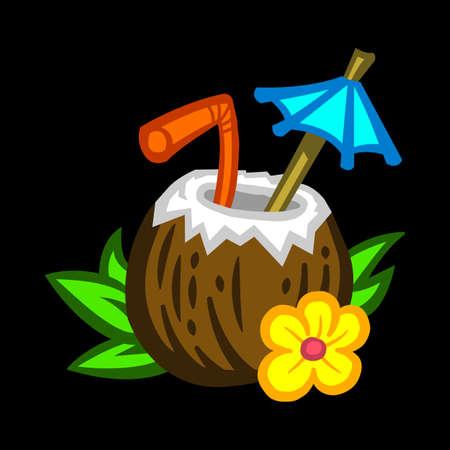 Tropical coconut drink vector Ilustração