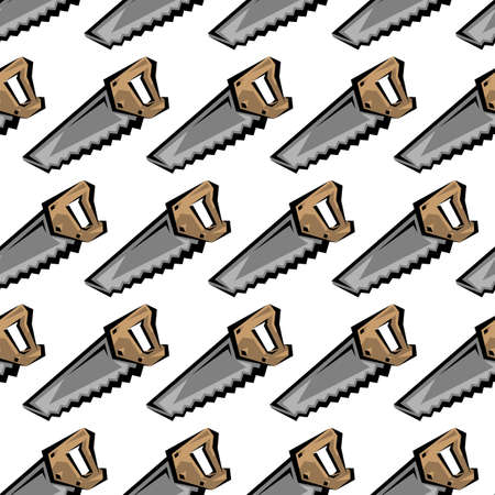 Hand saw construction tool for cutting wood. Vector cartoon illustration