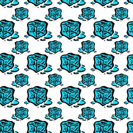 Frozen ice cubes seamless background