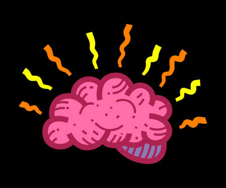 Human Brain Medical Anatomy Cartoon Illustration