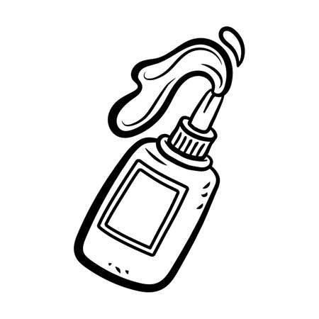 Glue Bottle With Glue Pouring Out in Cartoon Style Çizim