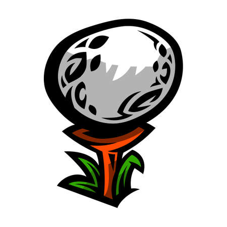 Golf Ball On Tee With Blades of Grass, in Cartoon Style Illusztráció