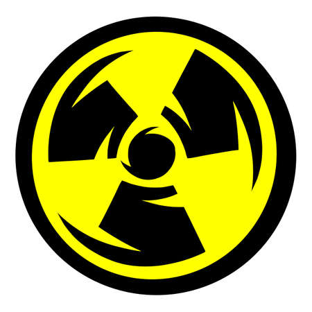 Radioactive biohazard symbol with sharp shredded spinning effect