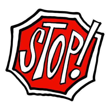 Stop road sign in animated cartoon style 矢量图像