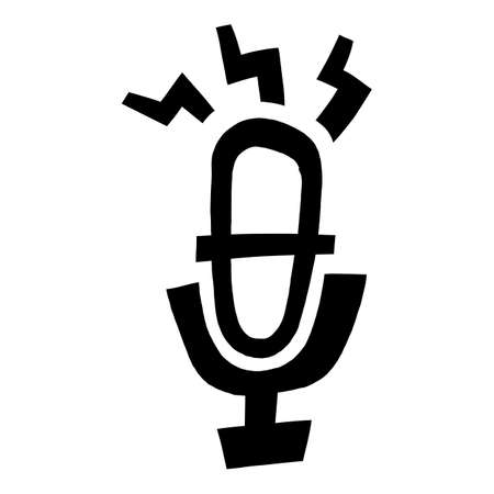 Microphone equipment for recording audio for music, radio, or podcast Иллюстрация