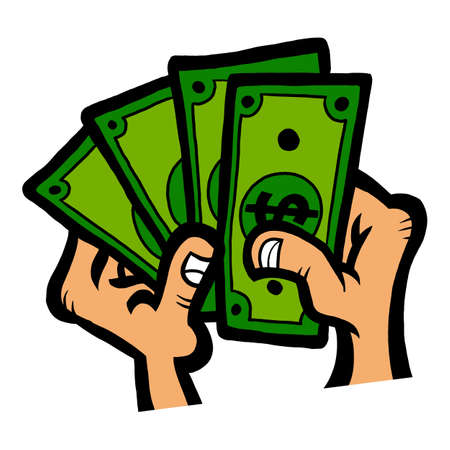 Cartoon hands holding out and counting cash dollar bills Vettoriali