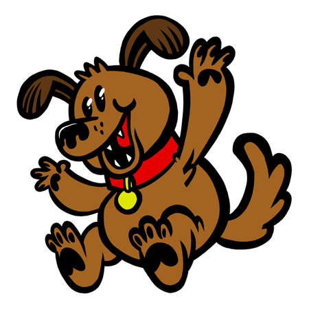 Happy cartoon dog with a collar jumping in the air