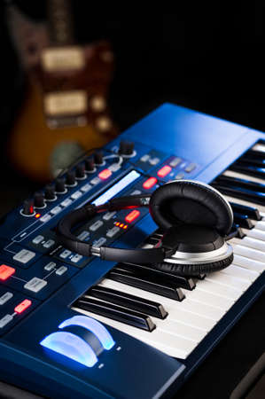 music production: instruments in a recording studio Stock Photo