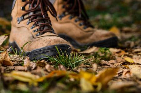 het dragen van wandelschoenen in het bos Stockfoto