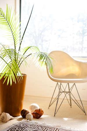 een moderne stoel en planten