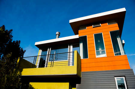 mid century: a colorful modern building Stock Photo