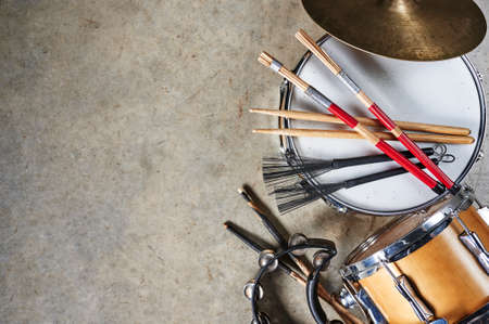 percussion instruments including drums and cymbals
