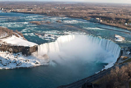 horseshoe falls: The Horseshoe Falls in Niagara Falls taken from above on the Canadian side.