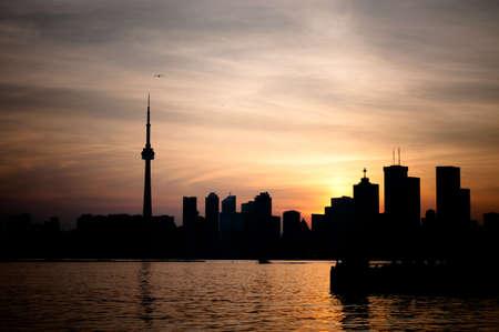 The Toronto skyline at sunset.