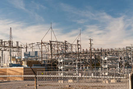 An electrical substation steps down high voltage electicity for domestic and commercial  distribution. Stock Photo - 8365402