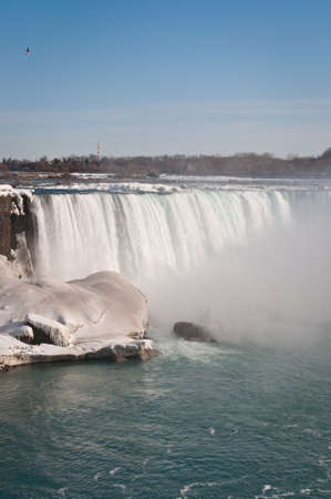 The American Falls on the Niagara River in winter.