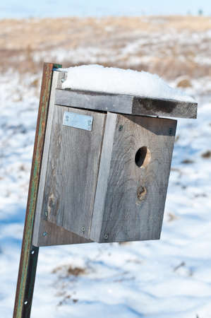 dwelling: A nest box set up to attrac.t small birds Stock Photo