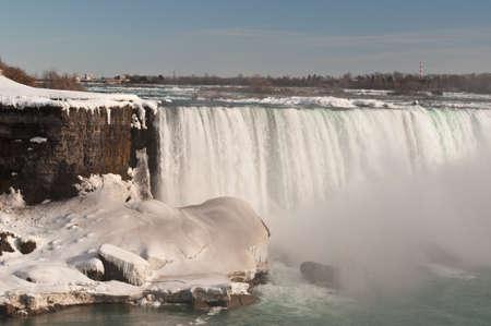 The Horseshoe Falls on the Niagara River in winter.