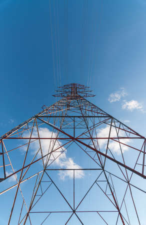 An electrical transmission tower carrying high voltage lines